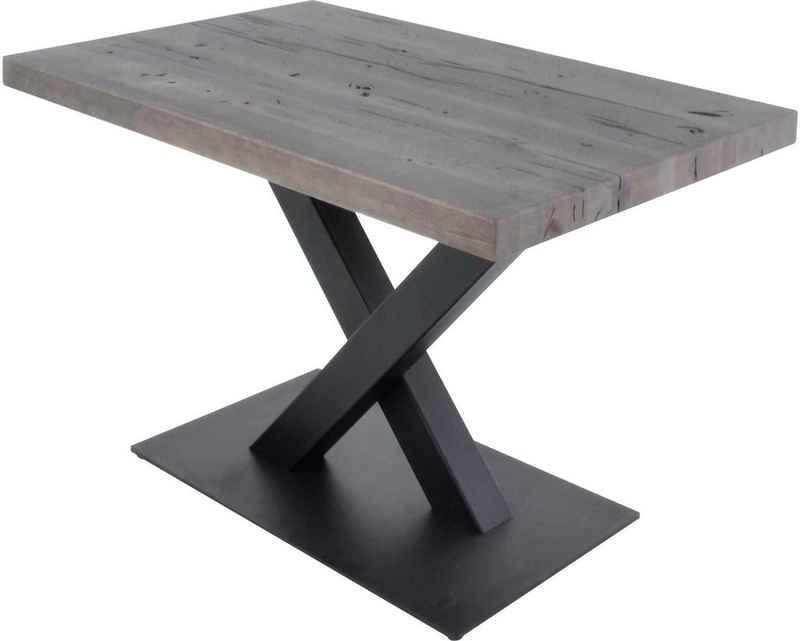 K+W Komfort & Wohnen Esstisch »5218«, Massivholz, gerissene Balkeneiche altgrau, X-Untergestell in Metall schwarz, 3 Breiten wählbar