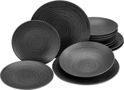 Leonique Tafelservice »Daliah« (12-tlg), Steinzeug, robuste, kratzfeste, seidenmatte Glasur