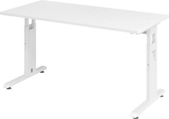 bümö Schreibtisch »OM-OS614-W«, höhenverstellbar, Bürotisch für's Homeoffice - Rechteck: 140x67 cm - Gestell: Weiß, Dekor: Weiß