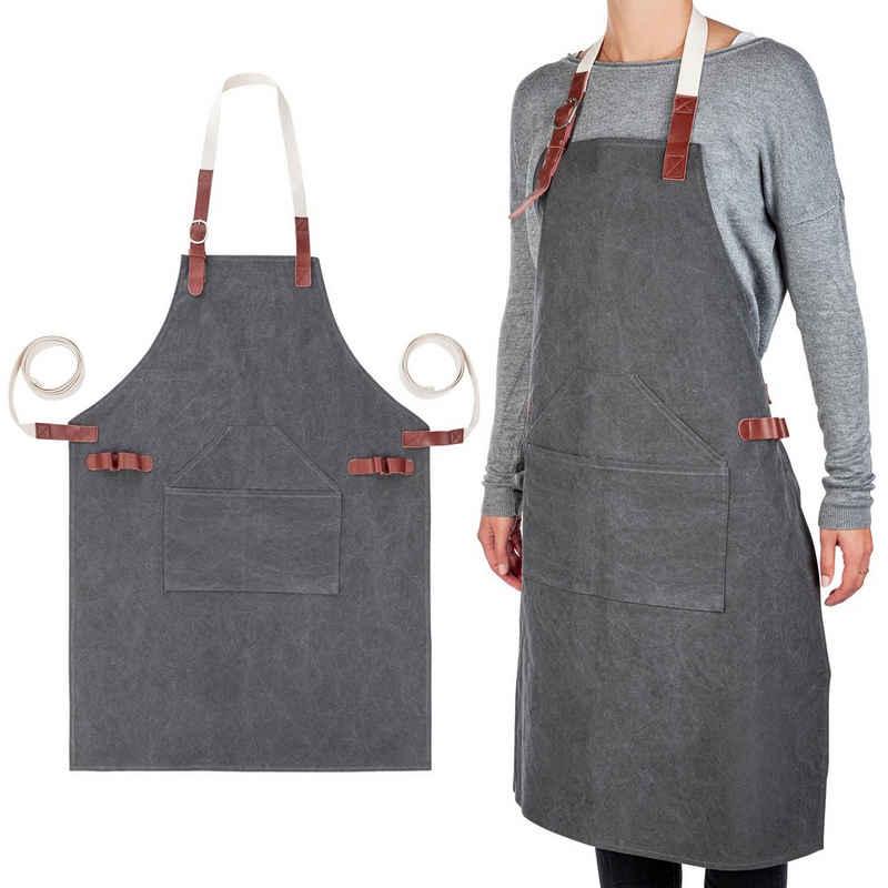 ONVAYA Kochschürze »Premium Kochschürze für Männer und Frauen, ideal als Grillschürze und Küchenschürze, Schürze aus 100% Baumwolle mit Leder-Details, maschinenwaschbar, verstellbares Nackenband«