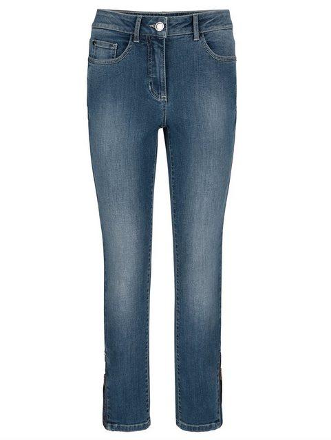 Hosen - Alba Moda 5 Pocket Jeans mit Strass Steinchenapplikation am Saumabschluss ›  - Onlineshop OTTO