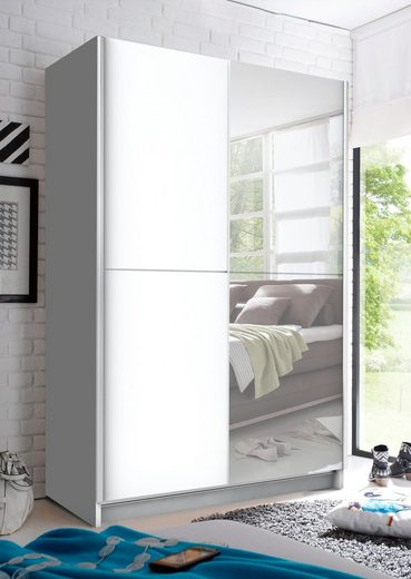 Schlafkontor Schwebetürenschrank mit Spiegel, Teleskopkleiderstange und zusätzlichen Böden