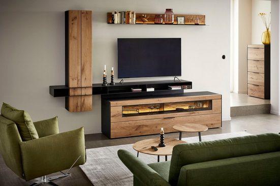 SCHÖNER WOHNEN-Kollektion Wohnwand »YORIS«, (4-tlg), 4 tlg. Kombination mit Wandbord und Unterteil mit Doppelschubkasten und Klappe