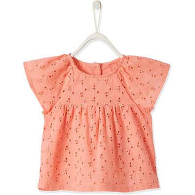 vertbaudet Kurzarmbluse »Baby Kurzarmbluse für Mädchen mit Ajour-Stickerei«