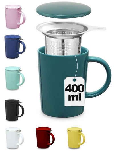 Cosumy Teeglas »Teetasse mit Sieb und Deckel Blaugrün 400ml«, Keramik, Hält Lange warm - 400ml Groß - Spülmaschinenfest