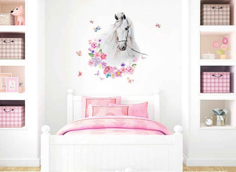 little DECO Wandtattoo »Little Deco Wandtattoo Pferdekopf mit Blumen & Schmetterlingen«