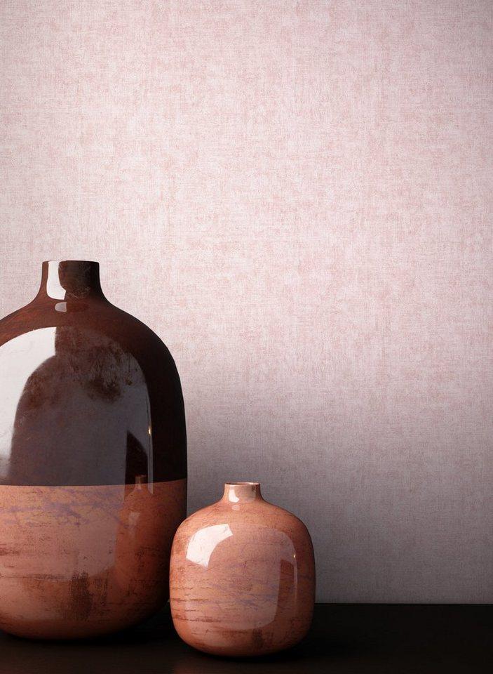 Newroom Vliestapete Rosa Tapete Struktur Modern Uni Einfarbig Mauve Altrosa Monochrom Schlicht für Schlafzimmer Wohnzimmer Küche online kaufen