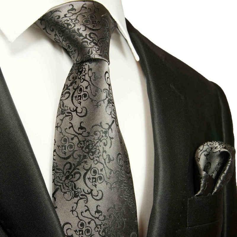 Paul Malone Krawatte »Herren Seidenkrawatte mit Tuch modern barock 100% Seide« (Set, 2-St., Krawatte mit Einstecktuch) Breit (8cm), silber grau 2051