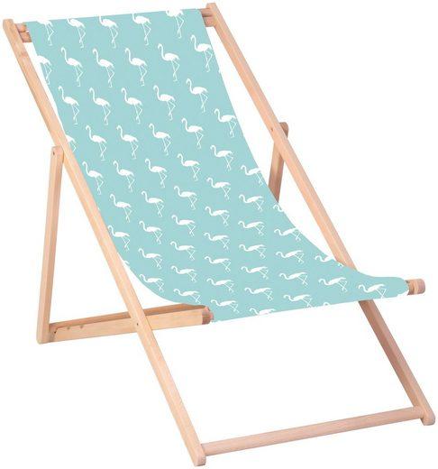 QUEENCE Liegestuhl »Flamingos-Blau«, 120 x 60 cm