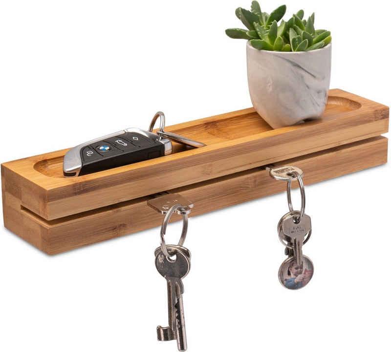 elbmöbel Schlüsselbrett »Schlüsselboard Schlüsselbrett Ablage 29,5x6x4,5 Bambus Holz Schlüsselhalter Schlüsselhaken«, (1 St), leichtes verstauen der Schlüssel, einfach in den Schlitz stecken