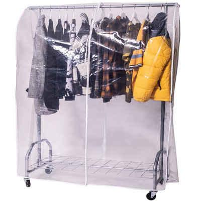ONVAYA Kleiderständer »Kleiderständer mit Abdeckung, hohe Traglast, stabil, mit Rollen und Ablagefach, Abdeckhülle, Schwerlast, bis 100 kg, Metall / Kunststoff, silbergrau, 120 x 50 x 180 cm«