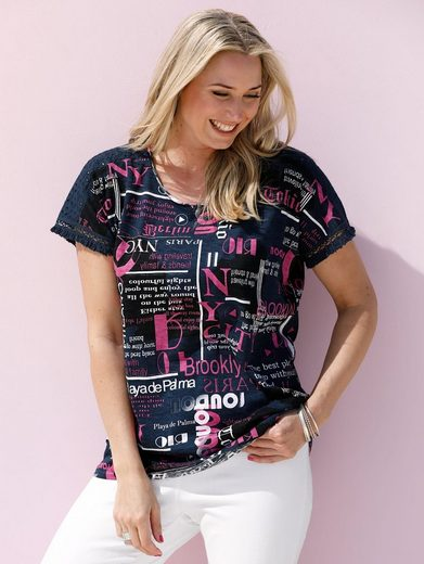 MIAMODA Shirt mit Fransenkante am Ärmelsaum