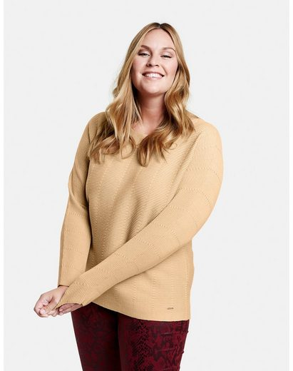 Samoon Rundhalspullover »Pullover mit horizontalem Rippstrick« soft