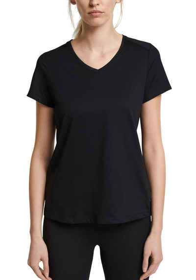 esprit sports V-Shirt mit Rückenteil aus Rippstrick