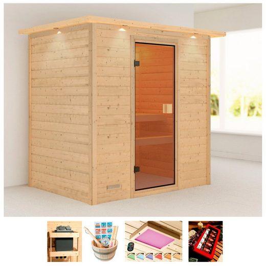 KARIBU Sauna »Borkum«, 224x160x202 cm, ohne Ofen, Dachkranz