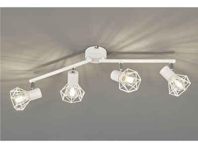FISCHER & HONSEL LED Deckenspot, Gitter-Lampenschirm Decken-Leuchte Strahler schwenkbar Deckenlampe im Retro Design für Deckenbeleuchtung Wohnzimmer, Flur, Küche & Schlafzimmer
