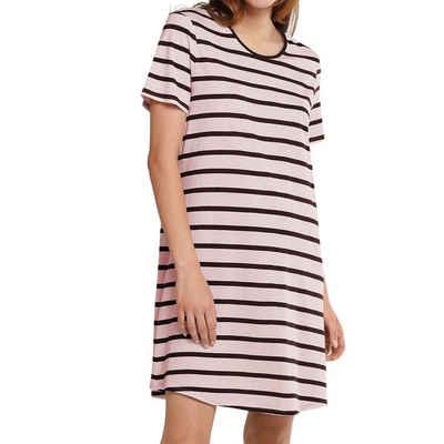Schiesser Nachthemd »Essentials Nachthemd kurzarm« Runder Halsausschnitt mit Einfass, Abgerundeter Saum, Gesamtlänge 85 cm