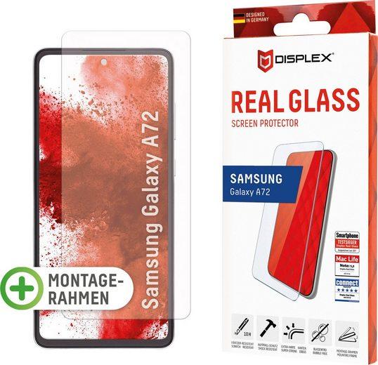 Displex »DISPLEX Real Glass Panzerglas für Samsung Galaxy A72 (6,5), 10H Tempered Glass, mit Montagerahmen, 2D« für Samsung Galaxy A72, Displayschutzfolie