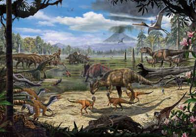 Komar Fototapete »Dinosaurs on the Shore«, glatt, bedruckt, Comic, Retro, mehrfarbig, BxH: 400x280 cm