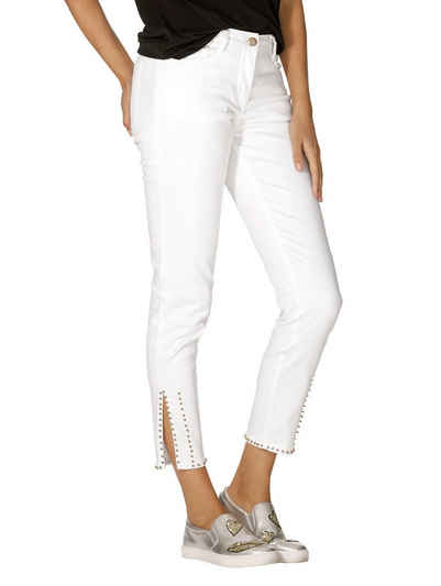 AjC Hose Skinny Jeans Damen Kurzgröße Sommer Destroyed Gelb Low Rise Denim