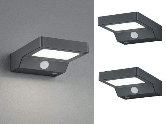 meineWunschleuchte LED Solarleuchte, 2er Set Fassaden-Beleuchtung mit Bewegungsmelder in Anthrazit für Haus-Wand, draußen, Terrasse