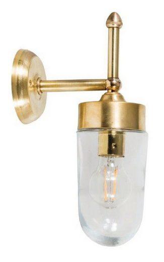Licht-Erlebnisse Außen-Wandleuchte »MILOS Messingwandlampe IP43 Glas Schirm wetterfest Haustür Hof Terrasse«