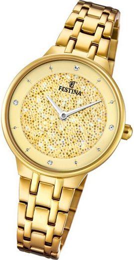 Festina Quarzuhr »D2UF20383/2 Festina Swarovski Elements Damen Uhr«, (Quarzuhr), Damenuhr mit Edelstahlarmband, rundes Gehäuse, klein (ca. 30mm), Fashion-Style