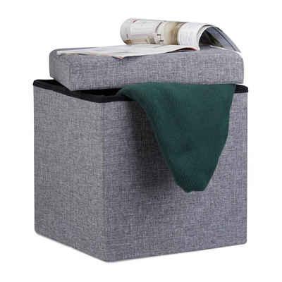 relaxdays Stauraumhocker »Faltbarer Sitzhocker mit Stauraum Leinen«