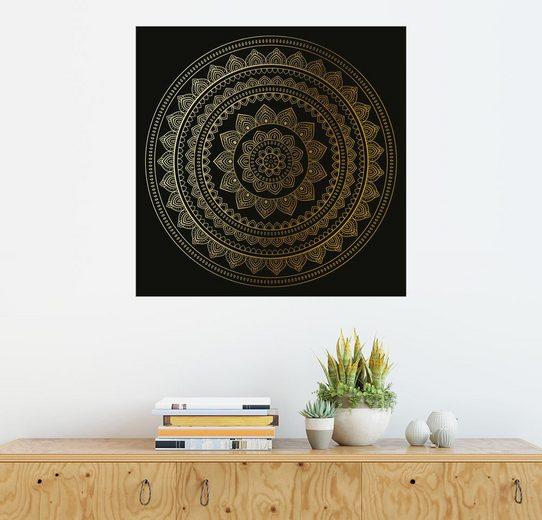 Posterlounge Wandbild, Mandala auf Schwarz