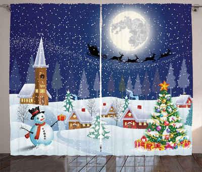 Gardine »Schlafzimmer Kräuselband Vorhang mit Schlaufen und Haken«, Abakuhaus, Weihnachten Winterlandschaft