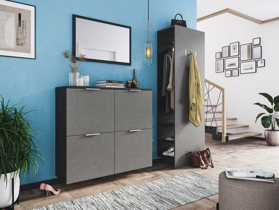 Emotion Garderoben-Set »Garderobe Amica 3 tlg Schuhkipper Paneel Spiegel 22 Paar Schuhe Asche«