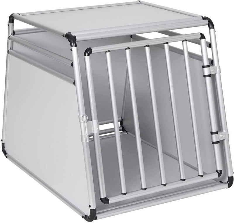 EUGAD Tiertransportbox »0009LL«, Hundetransportbox Alu Hundebox Reisebox Autobox für Husky, Samojede, Weimaraner, Border Collie, Chow-Chow, Shetland Sheepdog 85 x 65 x 69 cm XL Silber