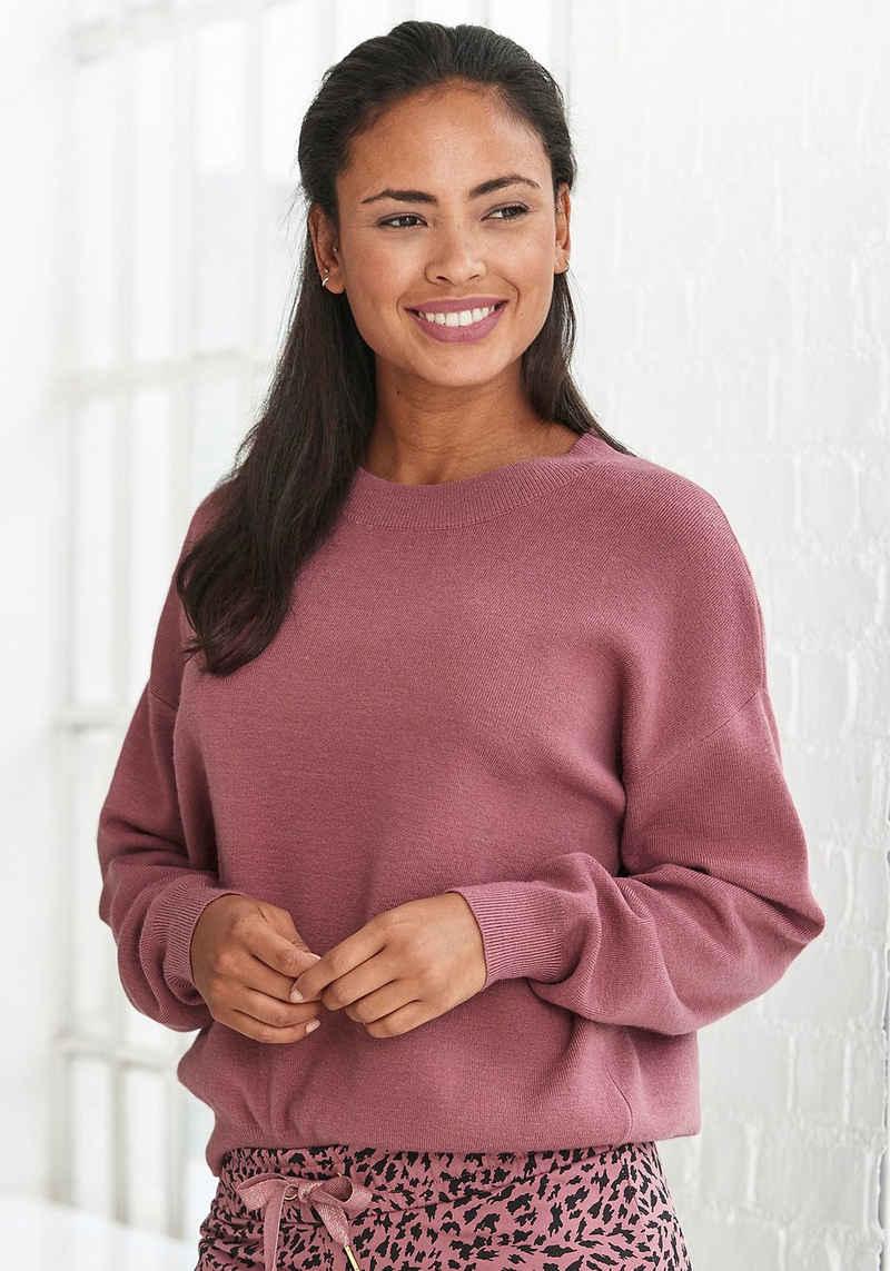 Buffalo Sweater mit Rundhalsausschnitt und Rippbündchen