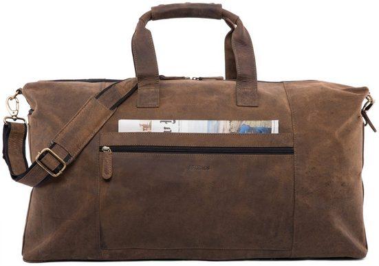 LEABAGS Reisetasche »Sydney«, Reisetasche Handgepäcktasche Sporttasche aus echtem Leder im Vintage Look, (LxBxH): ca. 64 x 25 x 34 cm - Sugarcane