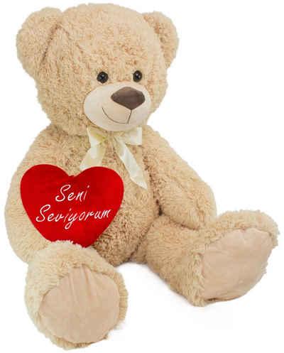 BRUBAKER Kuscheltier »XXL Teddybär 100 cm mit Seni Seviyorum Herz« (1-St), Stofftier Plüschtier