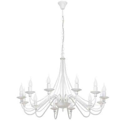 Licht-Erlebnisse Kronleuchter »ROSABELLA«, Weißer Kronleuchter Metall rustikal Esszimmer Hängeleuchte Lampe