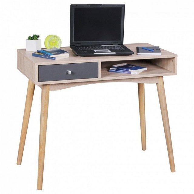 Kindertische - Wohnling Schreibtisch »WL1.792«, SAMO 90 x 78 x 45 cm mit Schublade in Sonoma Eiche Computertisch im modernen Retro Design Platzsparender Laptop Tisch für Schüler und Jugendliche  - Onlineshop OTTO