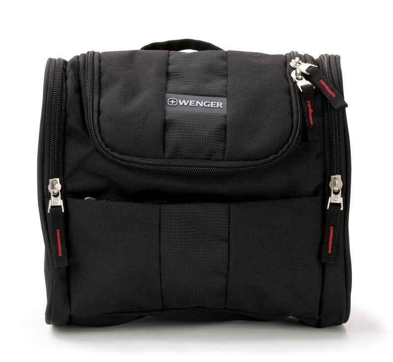 Wenger Kulturbeutel, große Kulturtasche mit Haken, für Männer und Frauen, wasserabweisendes Polyester, Schwarz