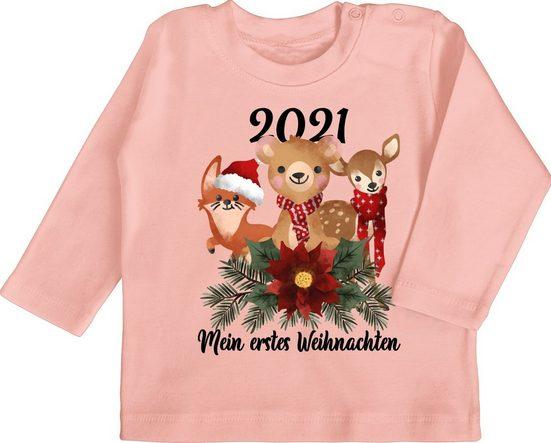 Shirtracer T-Shirt »2021 Mein erstes Weihnachten mit süßen Tieren - schwarz - Weihnachten Baby Outift - Baby T-Shirt langarm« Weihnachtsgeschenke Christmas Kleidung Strampler Babykleidung