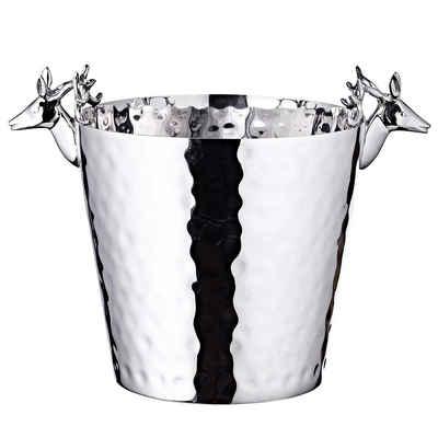 EDZARD Sektkühler, Flaschenkühler, Champagnerkühler, Weinkühler aus Edelstahl mit Hirschkopf-Griffen, Ø 20cm