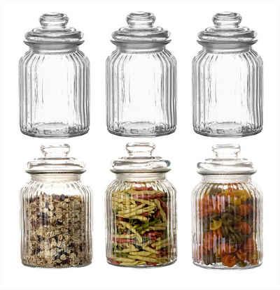 BigDean Vorratsdose »6x Bonbongläser Bonboniere 1 Liter − Mit Deckel − Für Süßigkeiten, Kekse, Kräuter & Gewürze − Vintage Vorratsgläser«, Glas, (6-tlg)