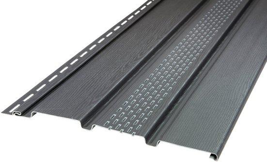 BAUKULIT Set: Verkleidungspaneel »SOFFIT graphit«, für Dachüberstand, mit Lüftungsschlitzen, 8,1 m²