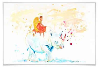 Wall-Art Poster »Black Rhino«, Schriftzug (1 Stück), Poster, Wandbild, Bild, Wandposter