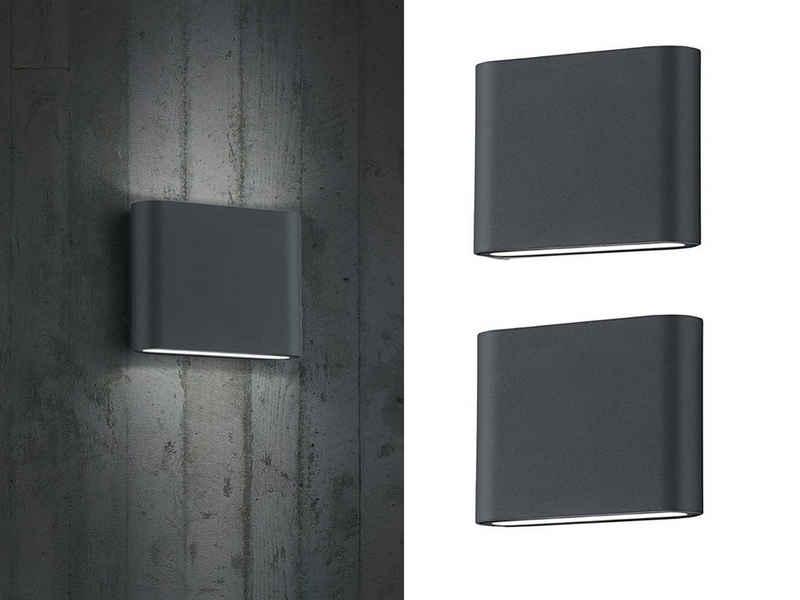 meineWunschleuchte LED Außen-Wandleuchte, 2-er Set Fassaden-Beleuchtung für Haus-Wand up and down, Anthrazit, Terrasse, Hausbeleuchtung, Außen-Wandlampe, Außen-Lampe, Außen-Leuchte draußen