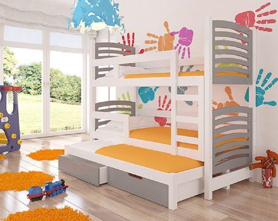 Feldmann-Wohnen Hochbett »SORIA« (Etagenbett mit 3 Schlafgelegenheiten) Farbe wählbar