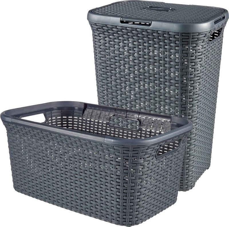 Curver Wäschekorb »Style« (Set, 2 Stück), Wäschebox (60L) und Wäschekorb (45L)