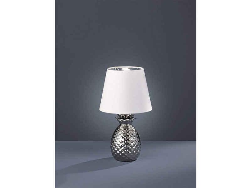 TRIO LED Tischleuchte, kleine Keramik Tisch-Lampe mit Stoff-Lampen-Schirm rund für Wohnzimmer, Fensterbank, Schlafzimmer, Schreibtisch