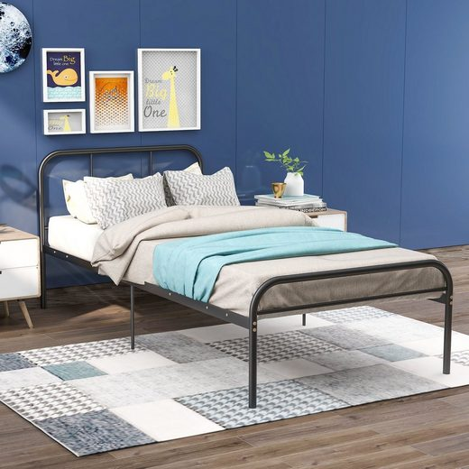 Masbekte Metallbett, Einzelbett, Jugendbett mit Kopf und Fuß (200x90 cm)