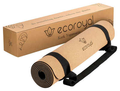 ecoroyal Yogamatte »Ecoroyal Yogamatte Kork I Yoga Matte I Korkmatte mit Tragegurt I Nachhaltig & rutschfest I Yoga Mat Cork [183 x 61 x 0,4 cm]« (Set, Kork Yogamatte + Tragegurt), 183 x 61 x 0,4 cm