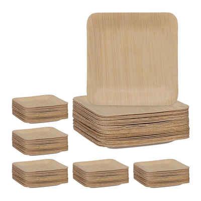 relaxdays Einwegteller »150 x Bambus Teller eckig 8,5 cm«